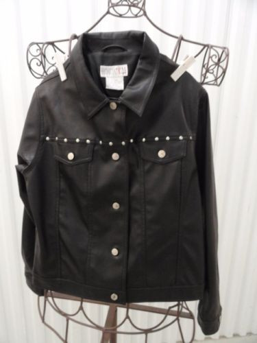 Girl's B B DAKOTA KIDS Black Jacket Faux Leather Short Biker Jean Jacke L NWOT