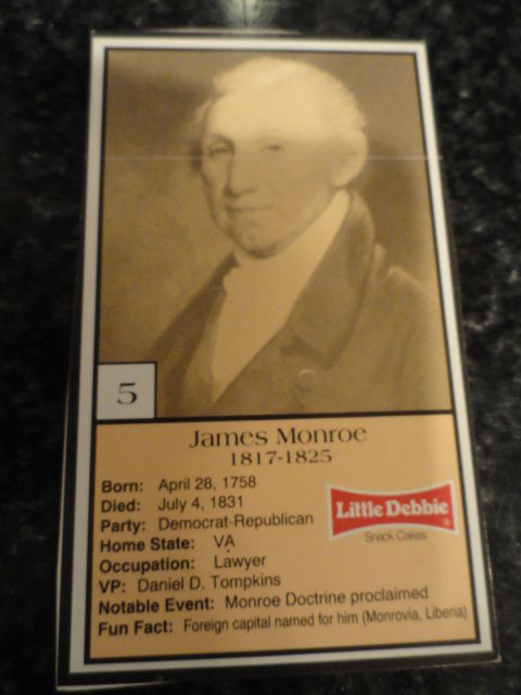 Vintage Little Debbie 1992 Presidential Trading Card #5 James Monroe Mint