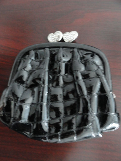 Brighton Black Patent Leather Quilted Change Purse With Heart Rhinestone Closure