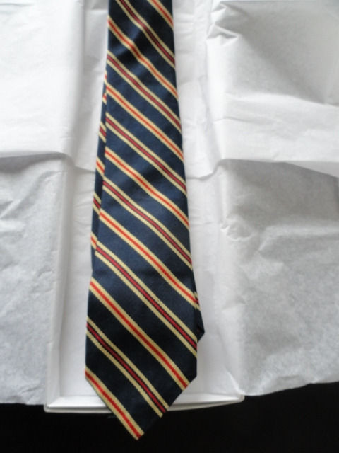 Vintage Men's CHAPS By RALPH LAUREN SAKS 5TH AVE Tie Striped Navy Orange Yellow