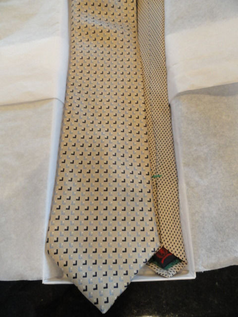 Vtg Men's Abstract 2 Color TOMMY HILFIGER Tie Beige Black White Blue 100% Silk