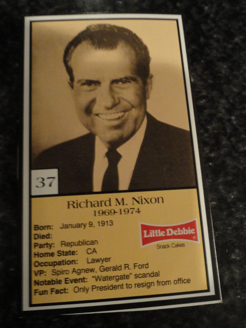 Vintage Little Debbie 1992 Presidential Trading Card #37 Richard M. Nixon  Mint
