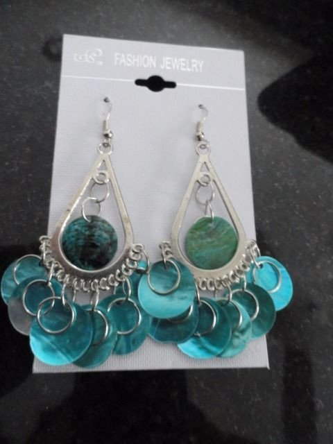 Dangle Turquoise Shell Silver Tone 3