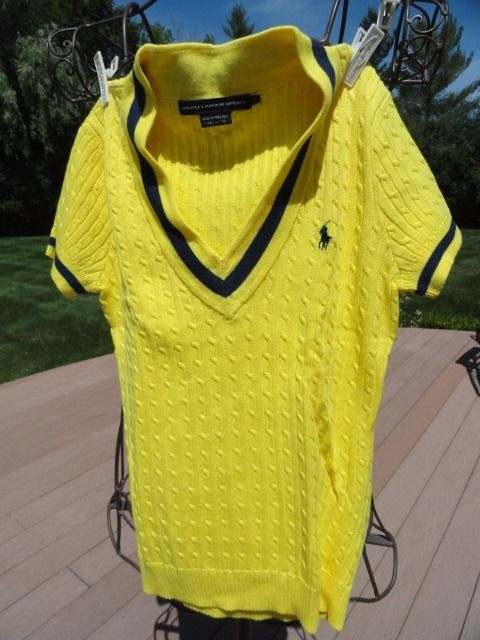 Ralph Lauren Sport Yellow Navy Cable V-Neck Knit Vest L 100% Cotton NWOT