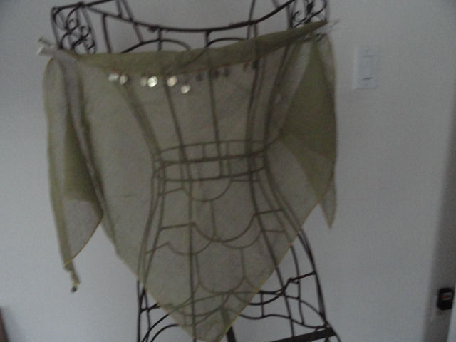 Vintage 1970's Olive Green Triangle Scarf With