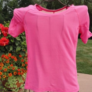 Lululemon Athletica Pink Short Sleeve Lightweight Running Shirt Open Back Sz 6