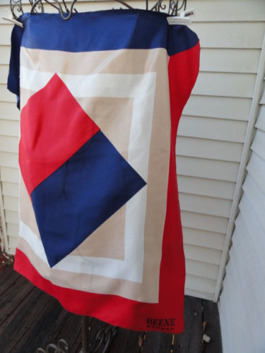 Vintage 1970's BEENE Bazaar Scarf All Silk Blue Red White Beige Squares No Tag