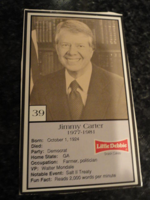 Vintage Little Debbie 1992 Presidential Trading Card #39 Jimmy Carter  Mint