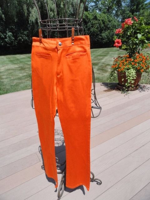 "Women's DOLLHOUSE Pants Bright Orange Bell Bottom 7"" Flair XS NWOT Low Cut"