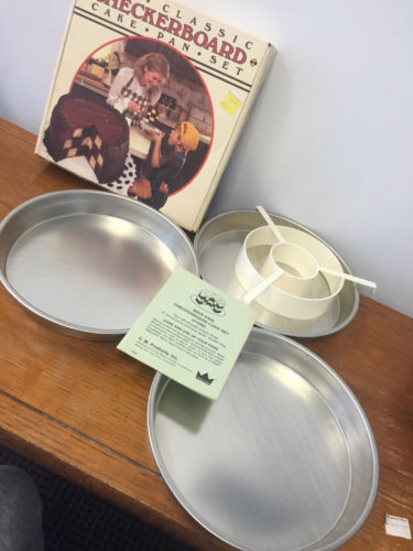 Vtg The Classic Checkerboard Cake Pan Set Bake King #1200 NIB UPC 70687 01200