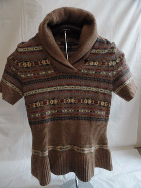 Girl's RALPH LAUREN Knit Beige Abstract Sweater Short Sleeves Size L NWOT