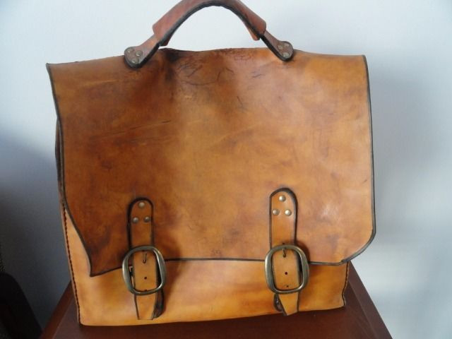 Vintage 1970-71 Hand Made Hand Tooled Leather Cow Hide Satchel Bag Made In USA