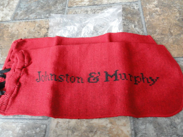 Vintage Johnson & Murphy Red & Black Cloth Shoe Bags Black Pull Ties NIB 3