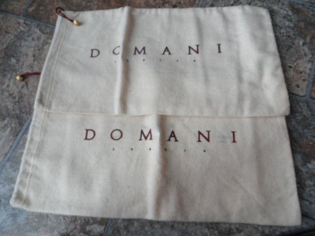 Vintage DOMINI ITALIA Soft Cloth Shoe Bags Maroon Ties Gold Beads NEW 14
