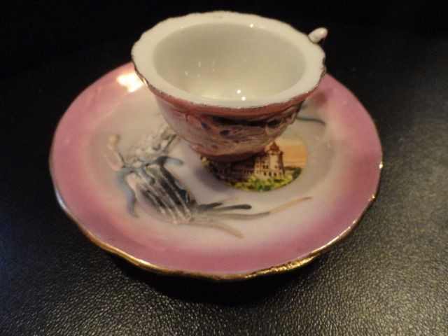 Vtg CASA LOMA Castle Totonto Canada Mini Teacup Set Hand Glazed Painted Ex Cond