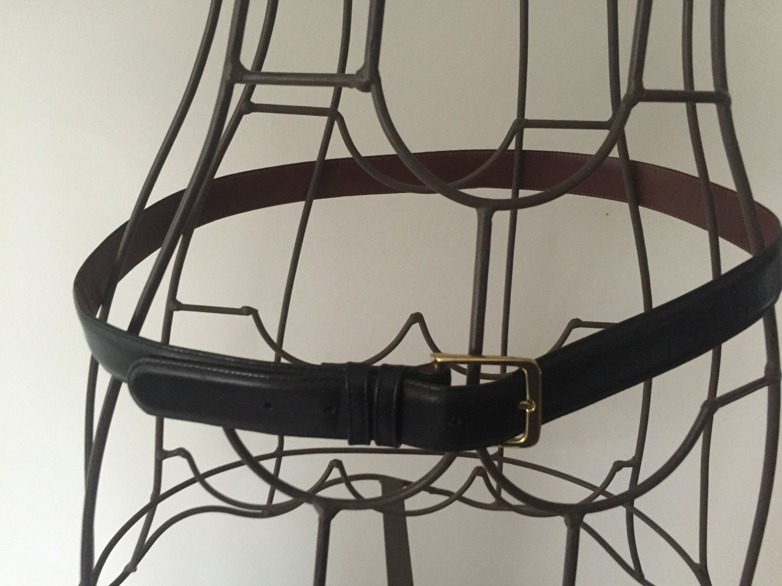 "Black Men's COACH Belt 38""-95CM USA #5800 Burnished Cowhide Solid Brass Dbl Loop"