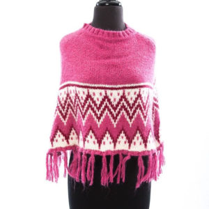 Girl's MAX STUDIO Hot Pink Maroon White Poncho With Fringe S/M Woven NWOT