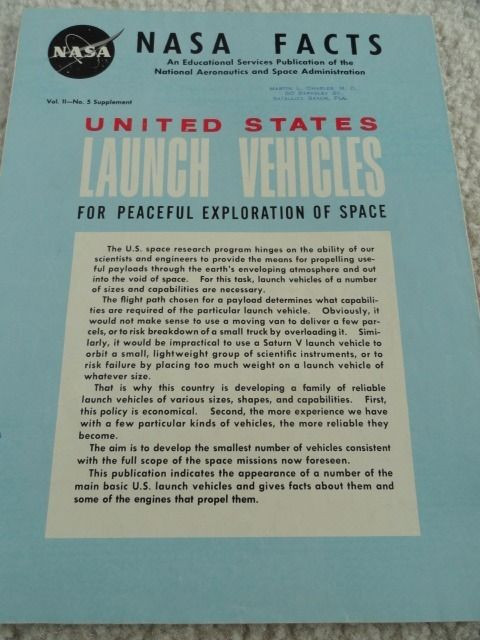NASA FACTS VOL II NO. 5 Supplement 1964 UNITED STATES LAUNCH VEHICLES COLOR