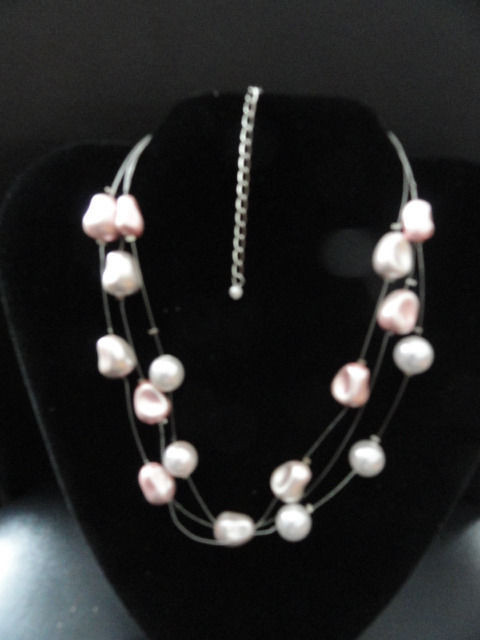 "Fashion Jewelry Pink Necklace 3 Strands ""Floating"" 14.5 ""  Adjustable Catch NWOT"