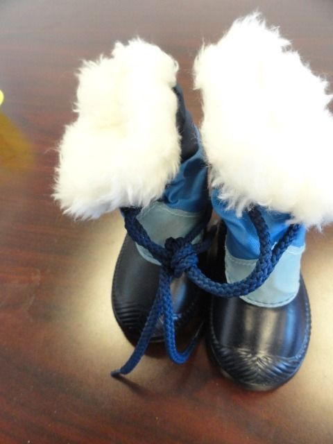 Baby Unisex Winter Boots Waterproof Blues White Faux Fur Ties Size 2 NWOT USA