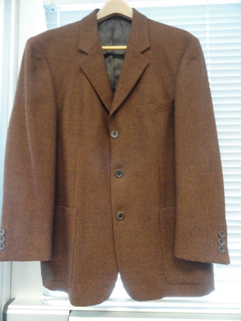 Men's BACHRACH 100% Wool Sport Jacket Coat 40 S Made In Slovenia Brown NWOT