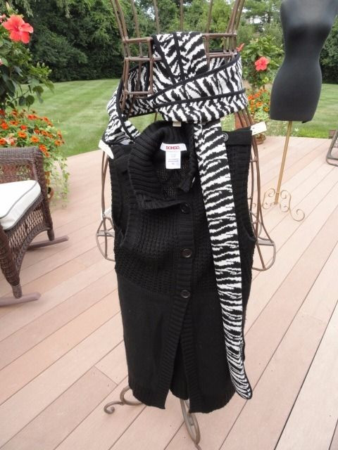 Women's BONGO Black Knit Vest & Zebra Print Scarf 2 Piece Set Small NWOT