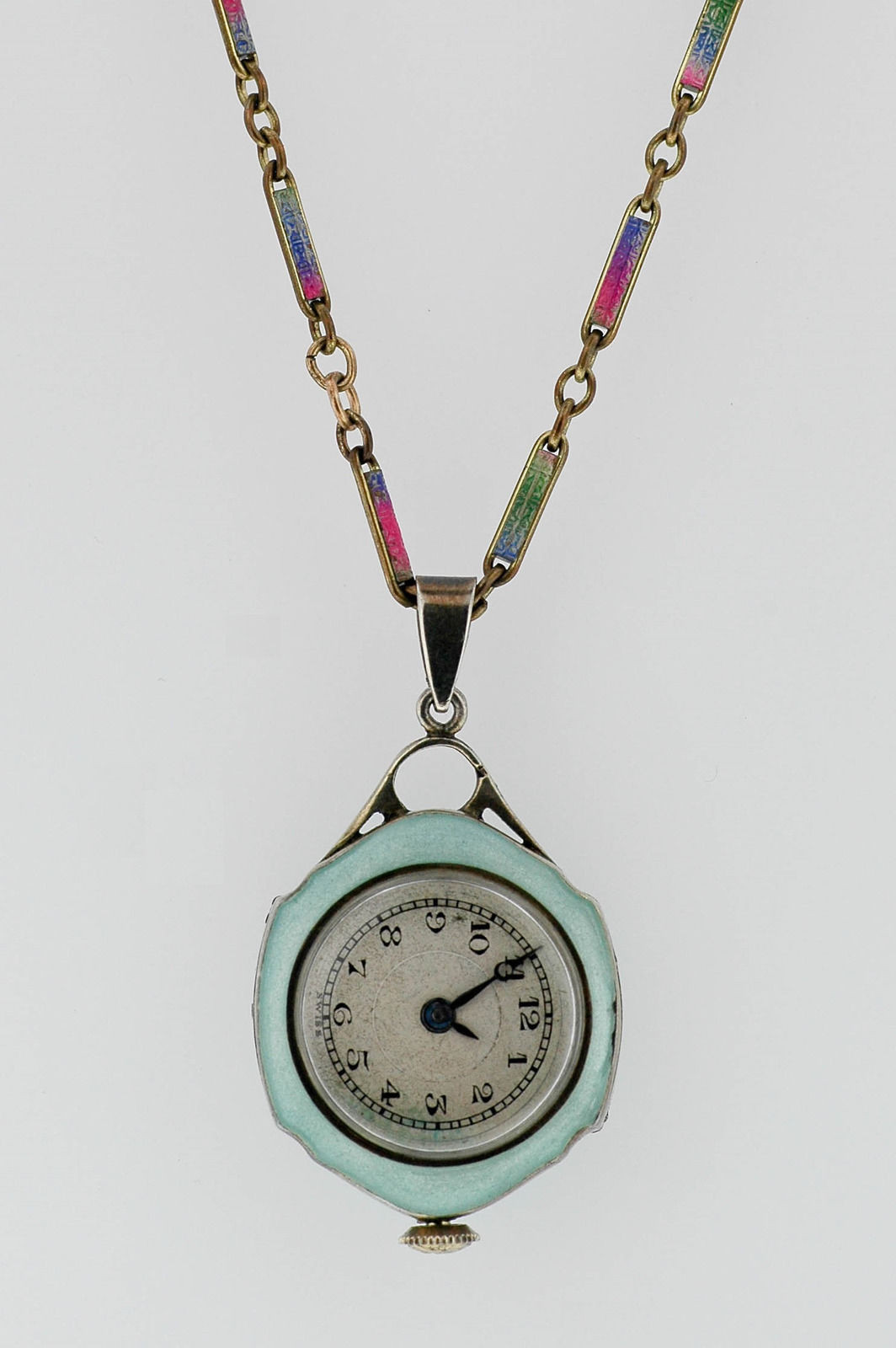 Antique Lady's Enamel Pocket Watch & Chain Open Face Jeanerette Swiss Watch