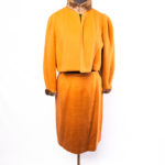 So vintage and so back in style right now. Made by my own mother. I love this orange wool suite with fur collar.